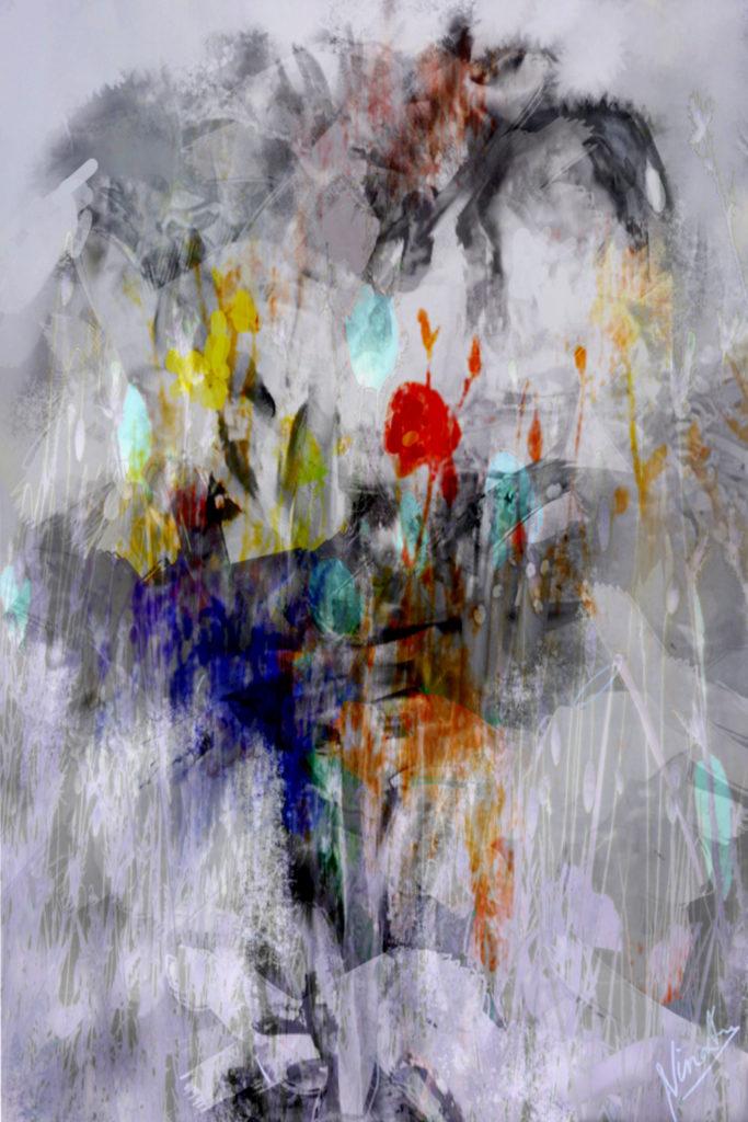 fleurs, numérique, bouquets, père, série, pièces uniques,Nina Aragon